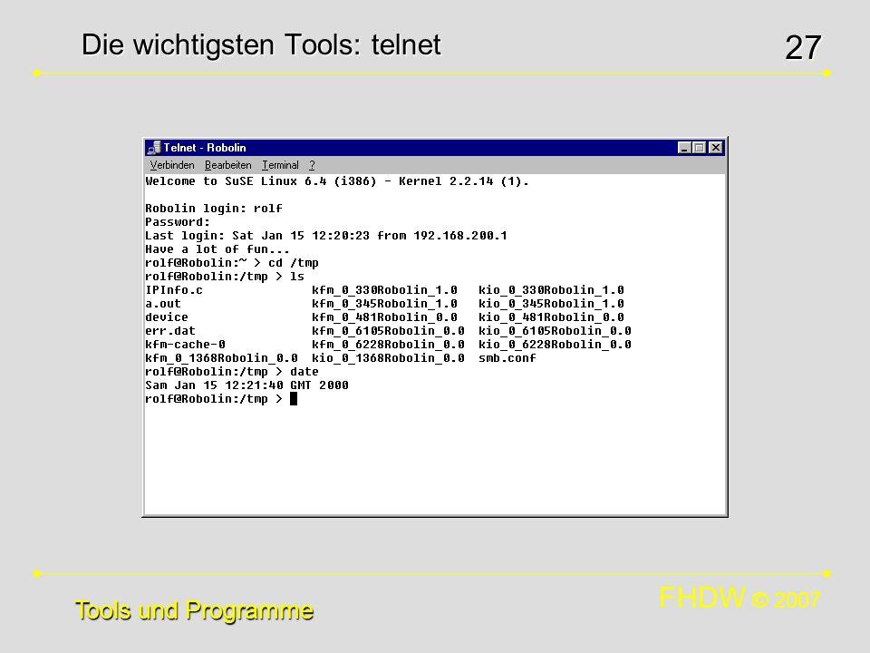 Die wichtigsten Tools: telnet