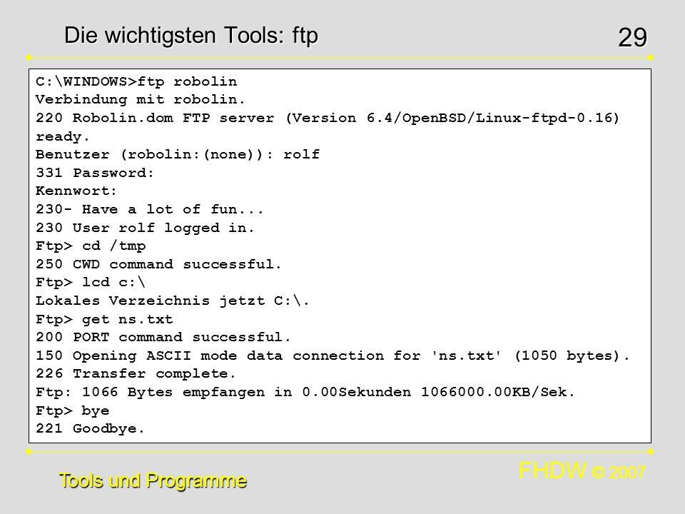 Die wichtigsten Tools: ftp