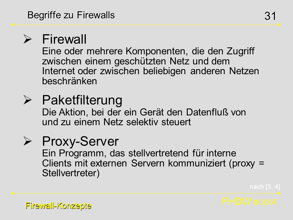 Begriffe zu Firewalls
