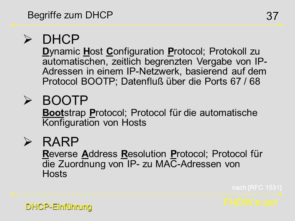 Begriffe zum DHCP