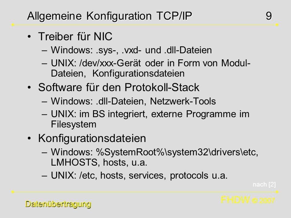 Allgemeine Konfiguration TCP/IP