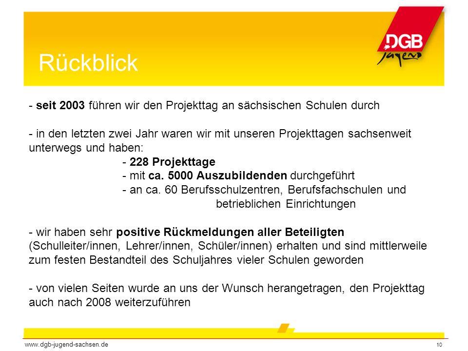 Rückblick - seit 2003 führen wir den Projekttag an sächsischen Schulen durch.