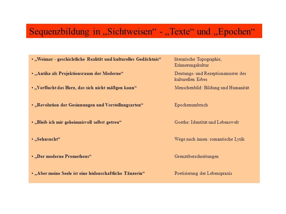 """Sequenzbildung in """"Sichtweisen - """"Texte und """"Epochen"""