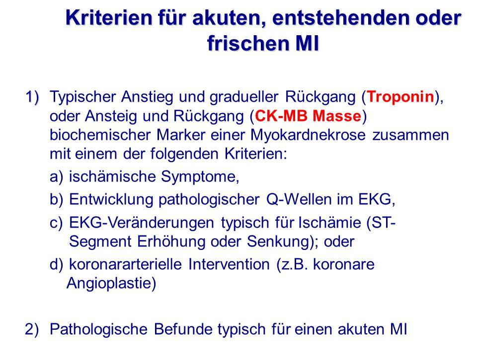 Kriterien für akuten, entstehenden oder frischen MI