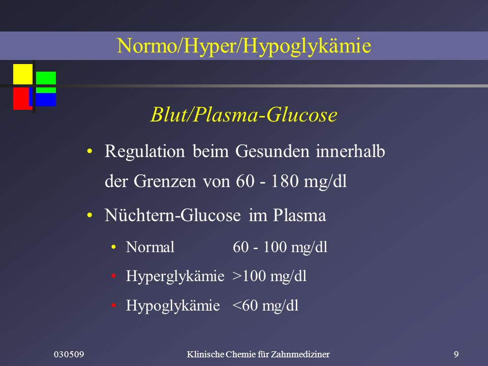 Normo/Hyper/Hypoglykämie