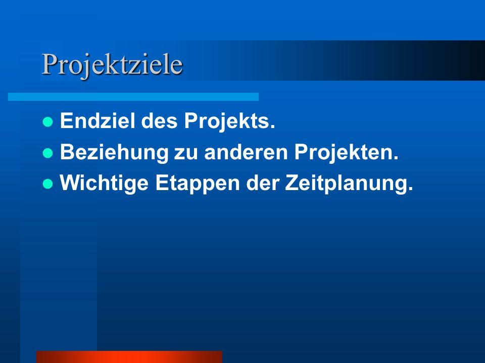 Projektziele Endziel des Projekts. Beziehung zu anderen Projekten.