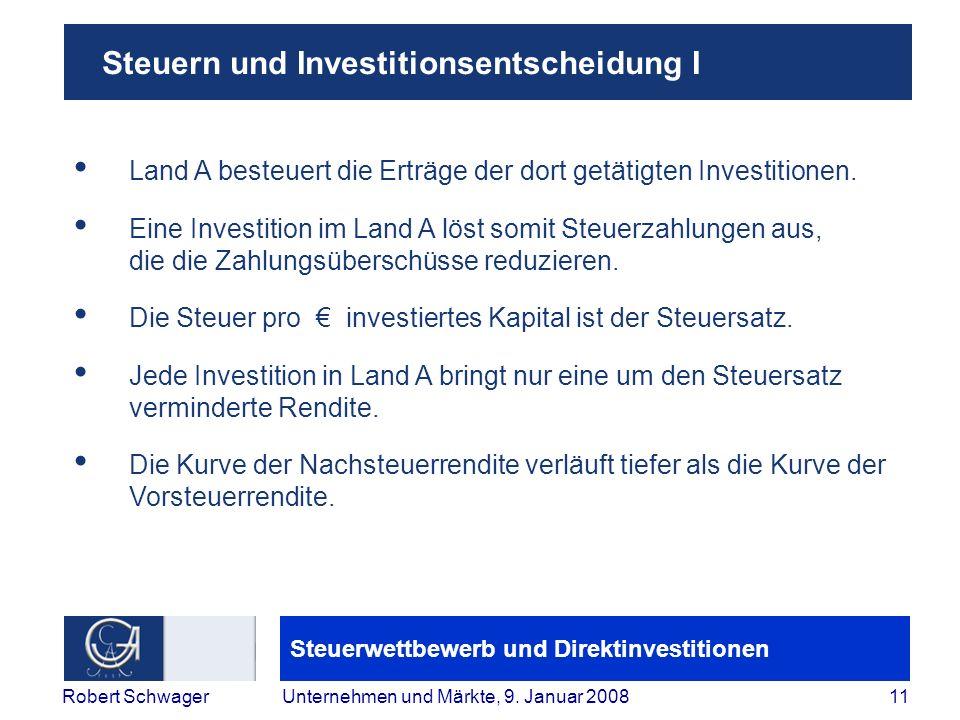Steuern und Investitionsentscheidung I
