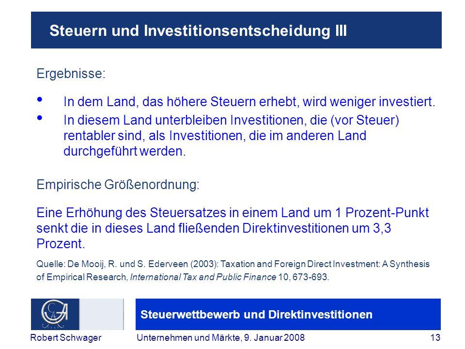 Steuern und Investitionsentscheidung III