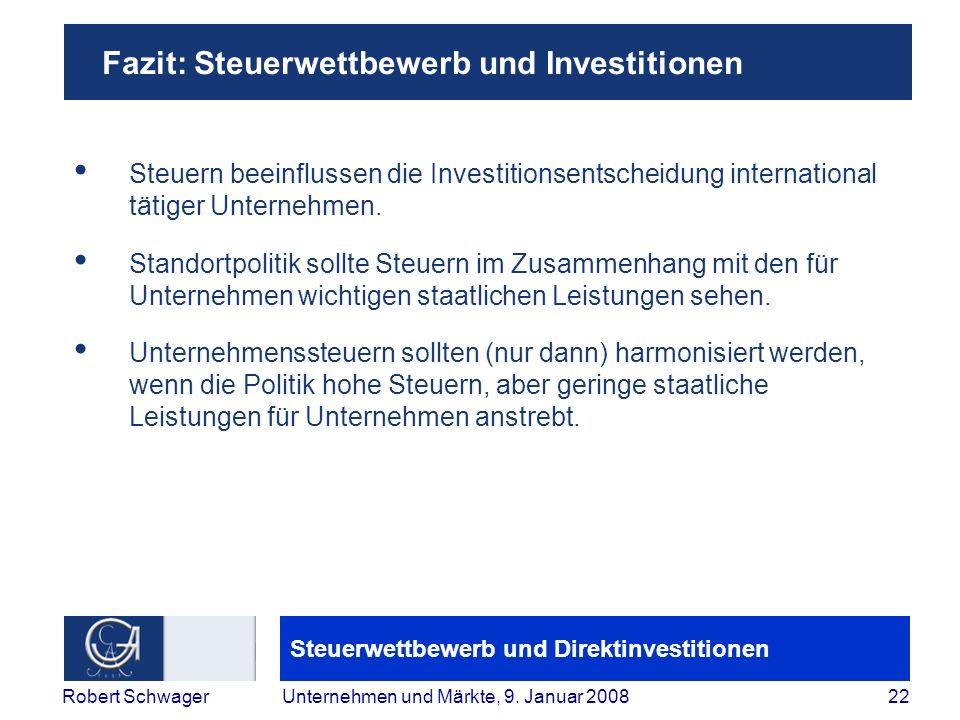Fazit: Steuerwettbewerb und Investitionen