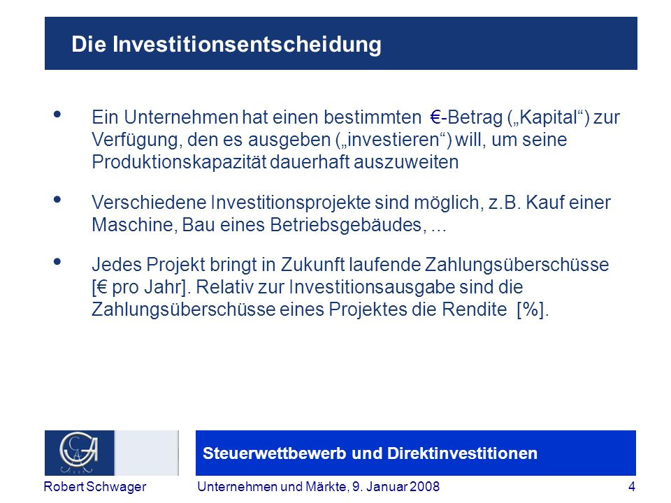 Die Investitionsentscheidung