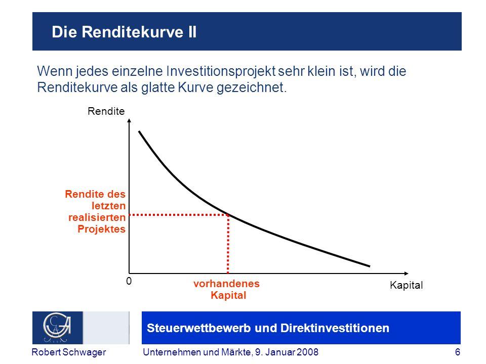 Die Renditekurve II Wenn jedes einzelne Investitionsprojekt sehr klein ist, wird die Renditekurve als glatte Kurve gezeichnet.