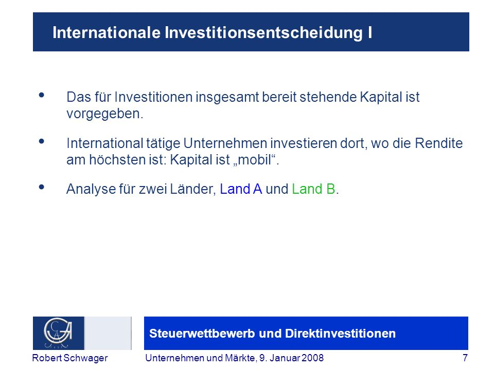 Internationale Investitionsentscheidung I