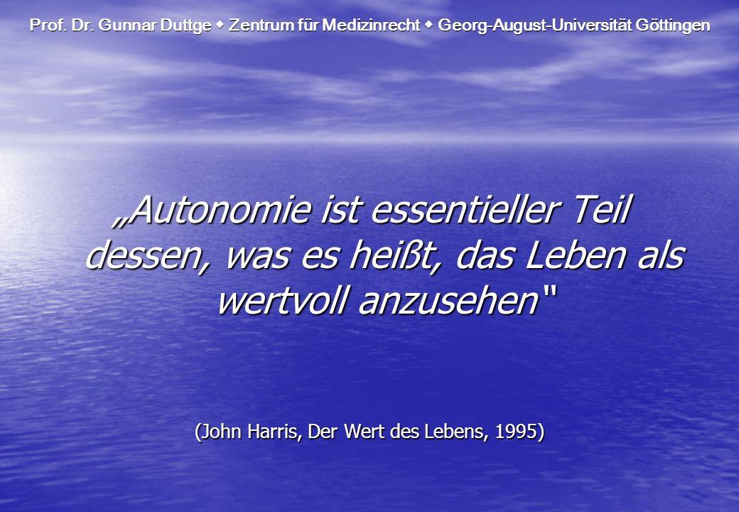 (John Harris, Der Wert des Lebens, 1995)