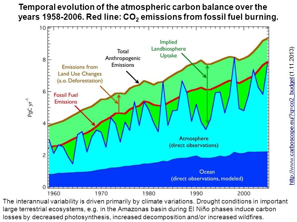 Temporal evolution of the atmospheric carbon balance over the years 1958-2006. Red line: CO2 emissions from fossil fuel burning.