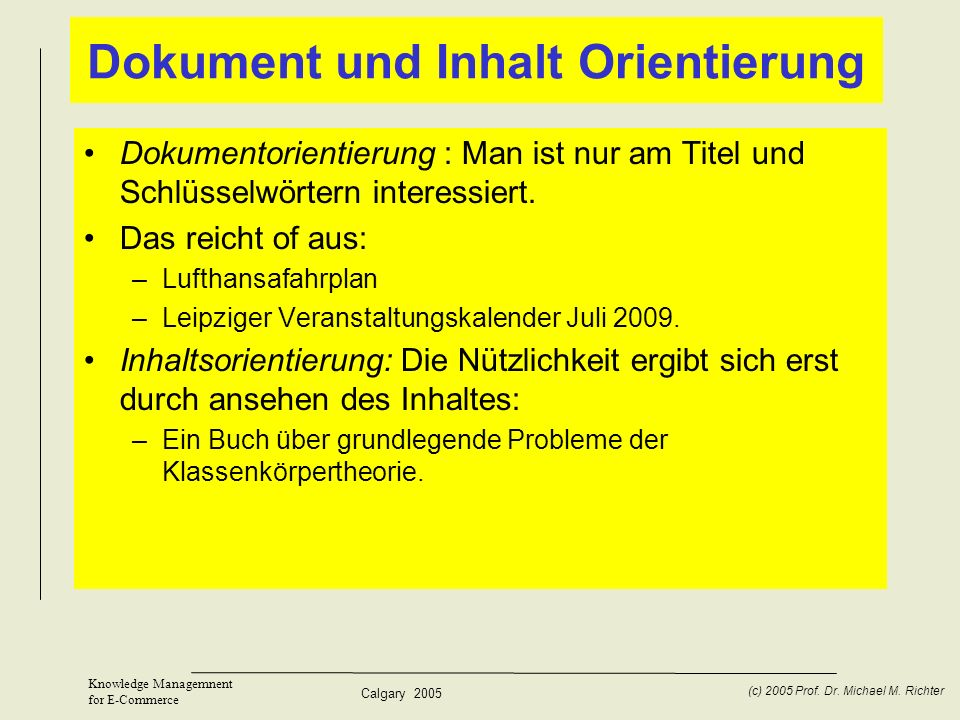 Dokument und Inhalt Orientierung