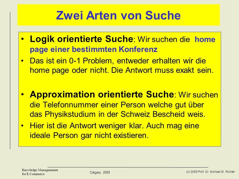 Zwei Arten von Suche Logik orientierte Suche: Wir suchen die home page einer bestimmten Konferenz.