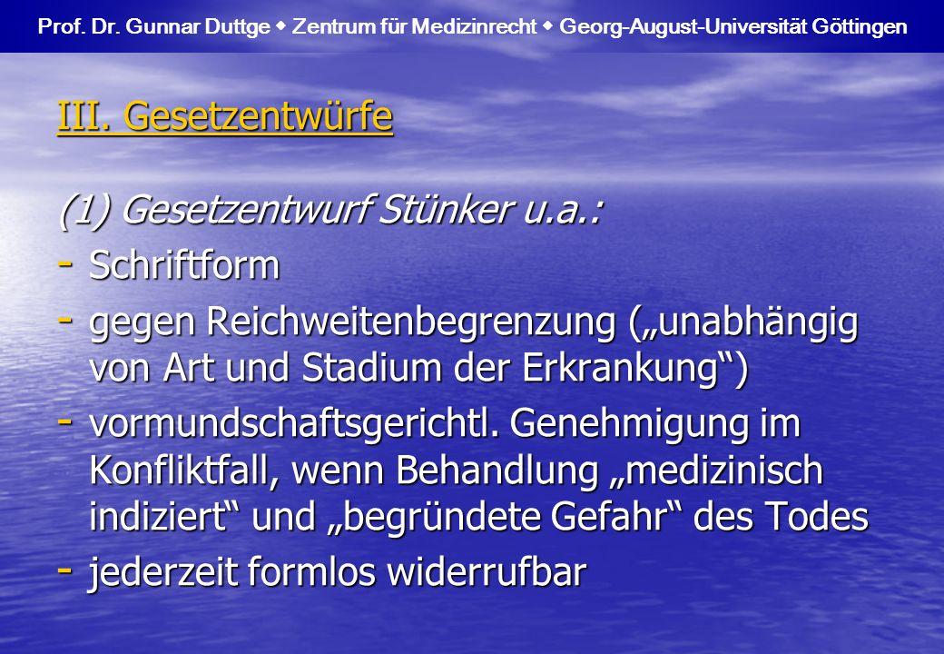 (1) Gesetzentwurf Stünker u.a.: Schriftform