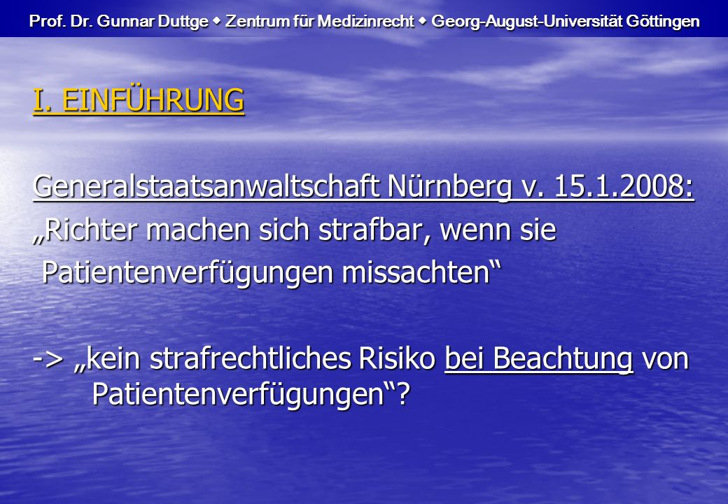 Generalstaatsanwaltschaft Nürnberg v. 15.1.2008: