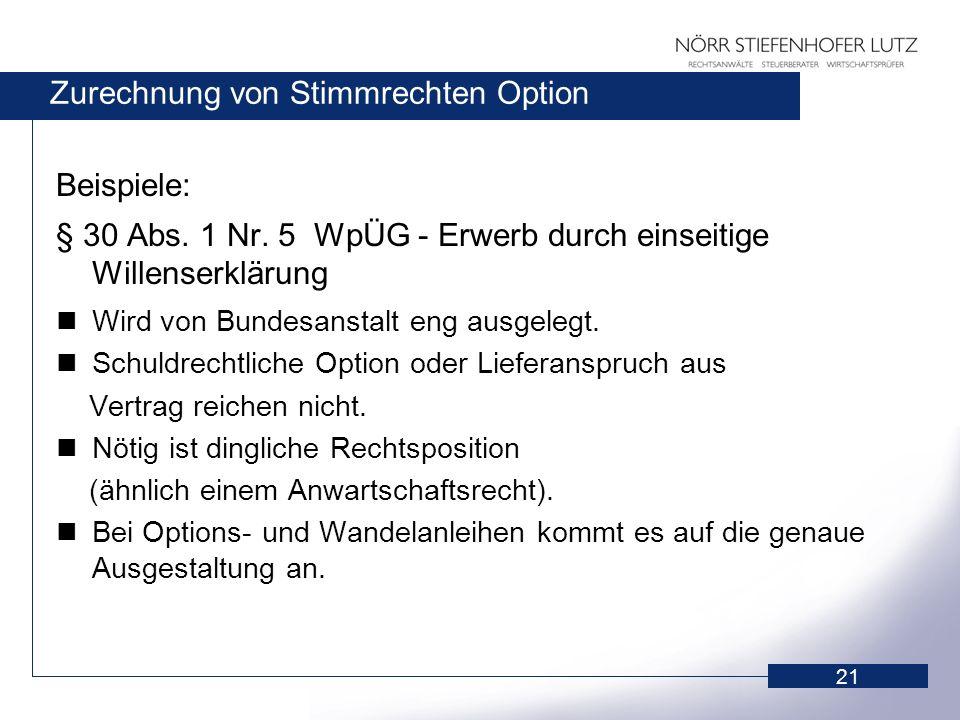 Zurechnung von Stimmrechten Option