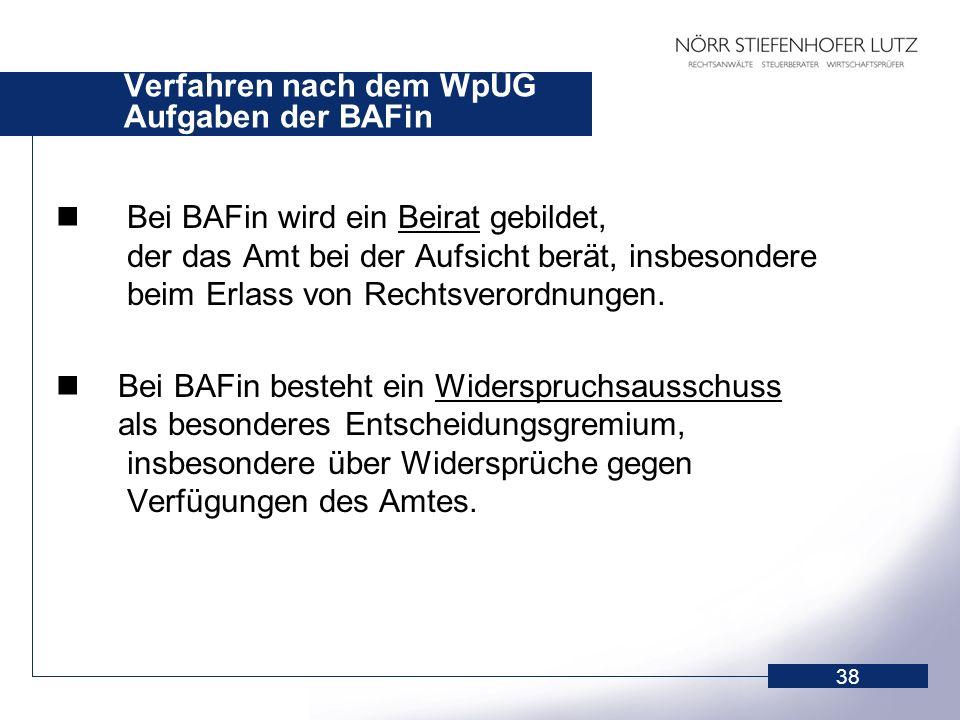 Verfahren nach dem WpÜG Aufgaben der BAFin