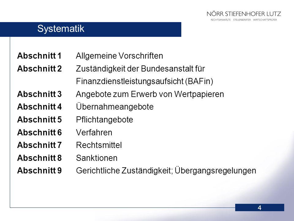 Systematik Abschnitt 1 Allgemeine Vorschriften