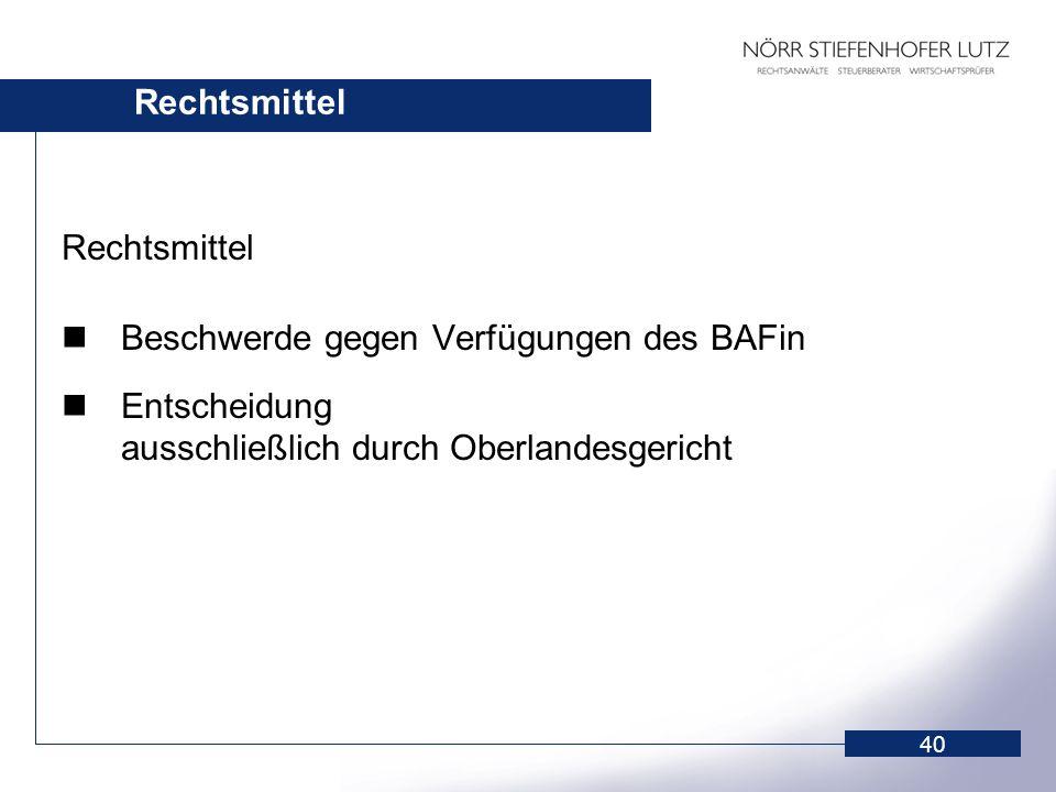 Rechtsmittel Rechtsmittel. Beschwerde gegen Verfügungen des BAFin.