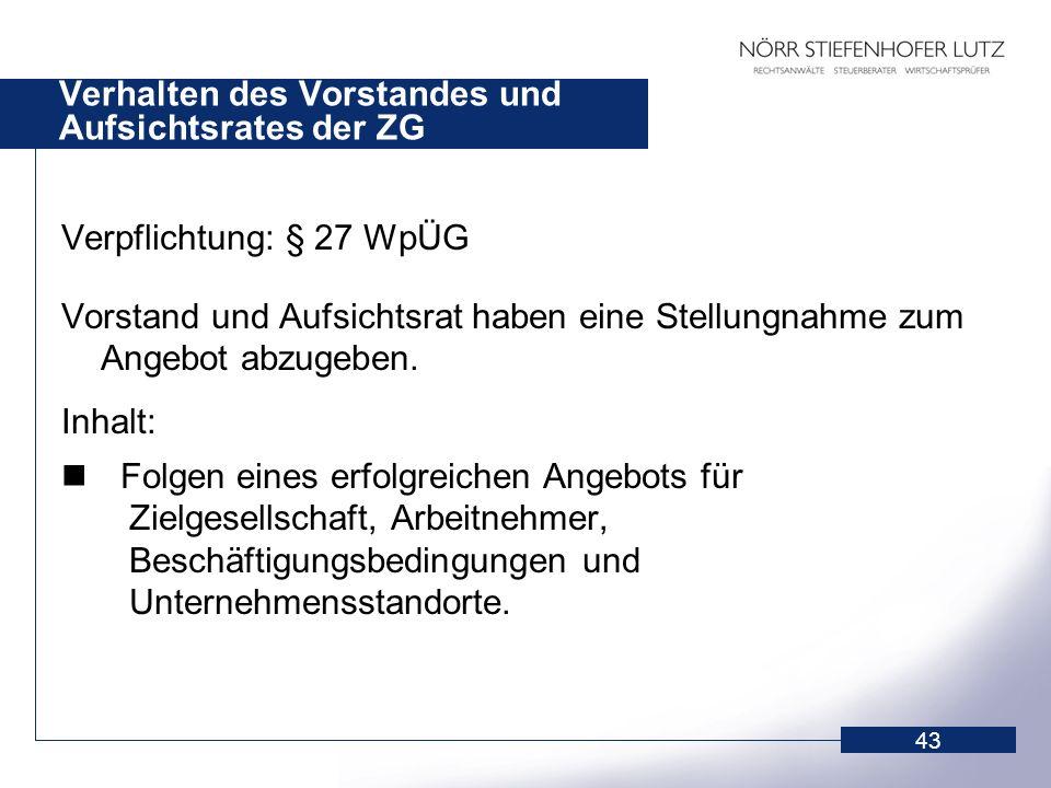 Verhalten des Vorstandes und Aufsichtsrates der ZG