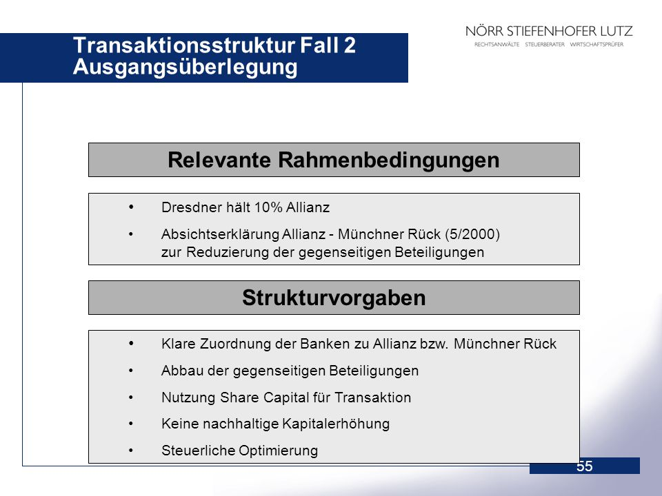 Transaktionsstruktur Fall 2 Ausgangsüberlegung