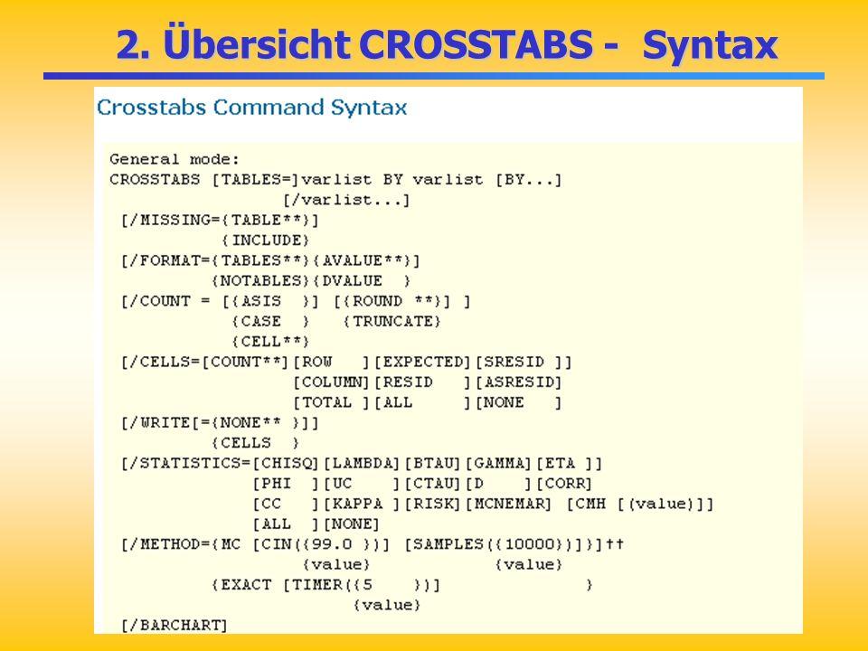 2. Übersicht CROSSTABS - Syntax