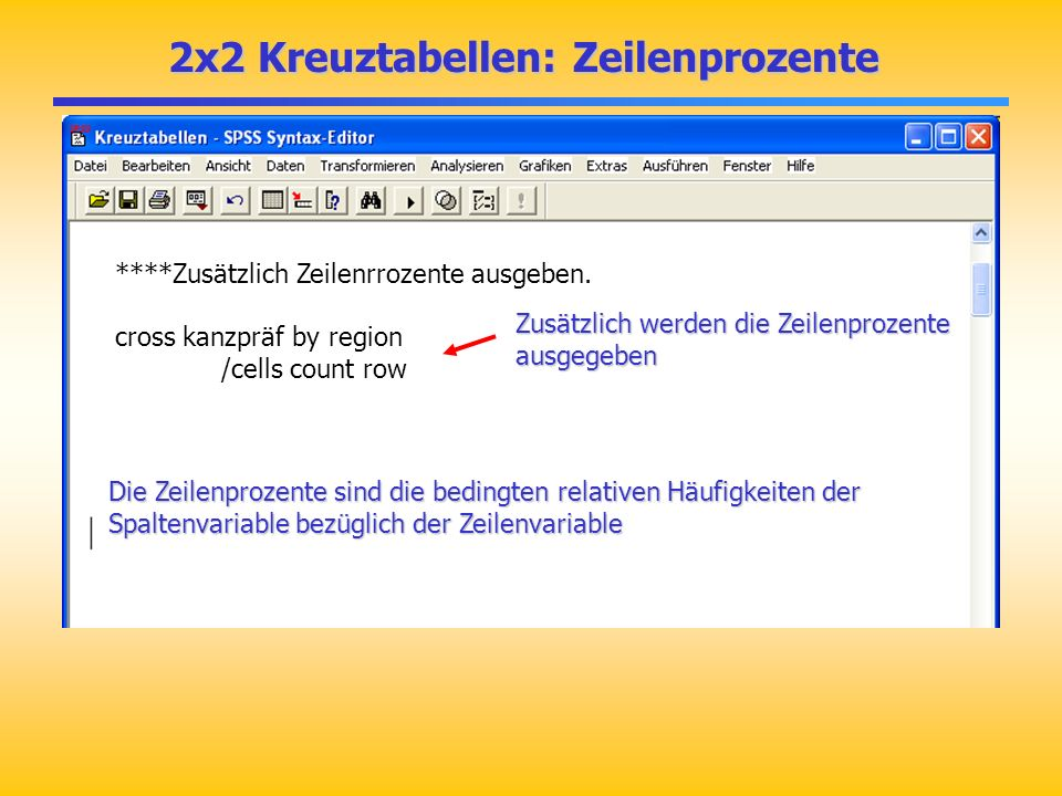 2x2 Kreuztabellen: Zeilenprozente