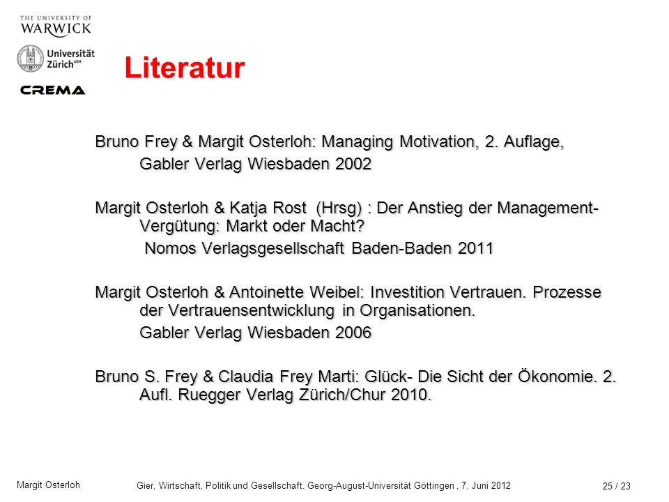 Literatur Bruno Frey & Margit Osterloh: Managing Motivation, 2. Auflage, Gabler Verlag Wiesbaden 2002.