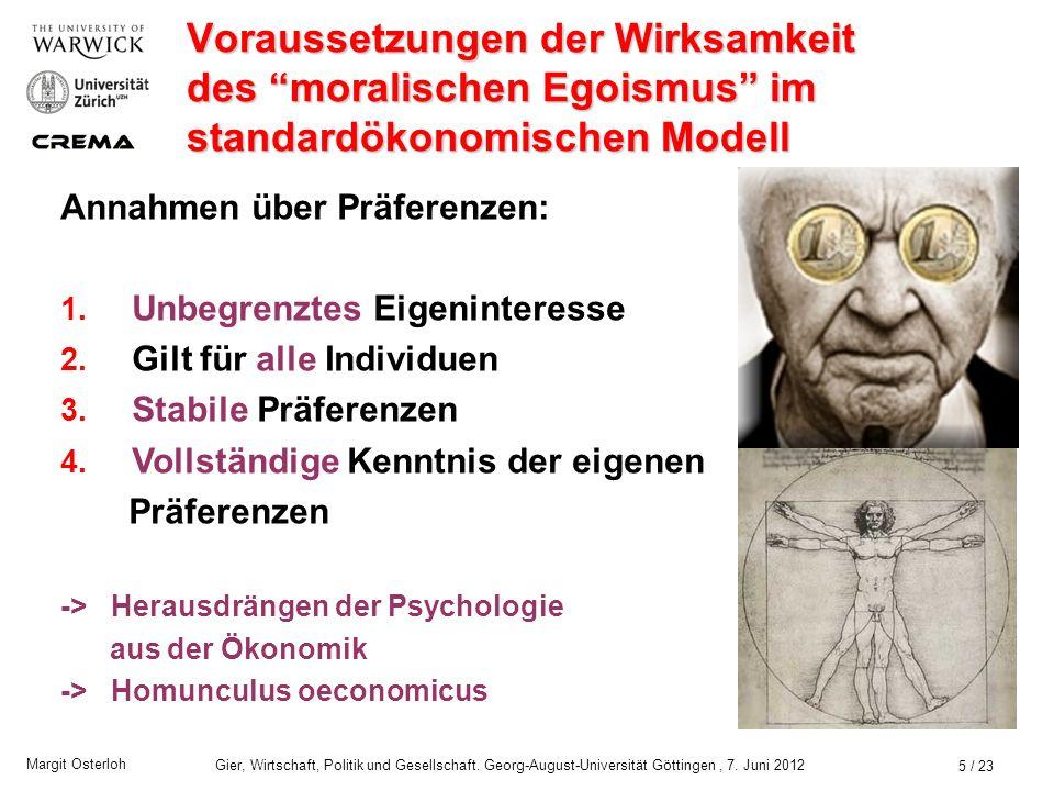 Voraussetzungen der Wirksamkeit des moralischen Egoismus im standardökonomischen Modell