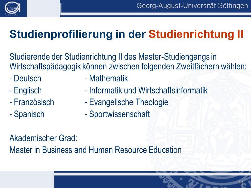 Studienprofilierung in der Studienrichtung II