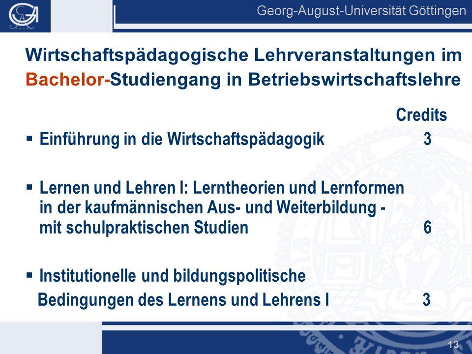 Wirtschaftspädagogische Lehrveranstaltungen im Bachelor-Studiengang in Betriebswirtschaftslehre