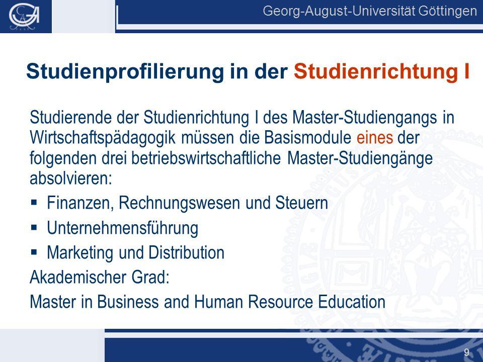 Studienprofilierung in der Studienrichtung I