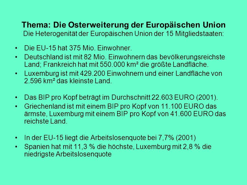 Thema: Die Osterweiterung der Europäischen Union Die Heterogenität der Europäischen Union der 15 Mitgliedstaaten: