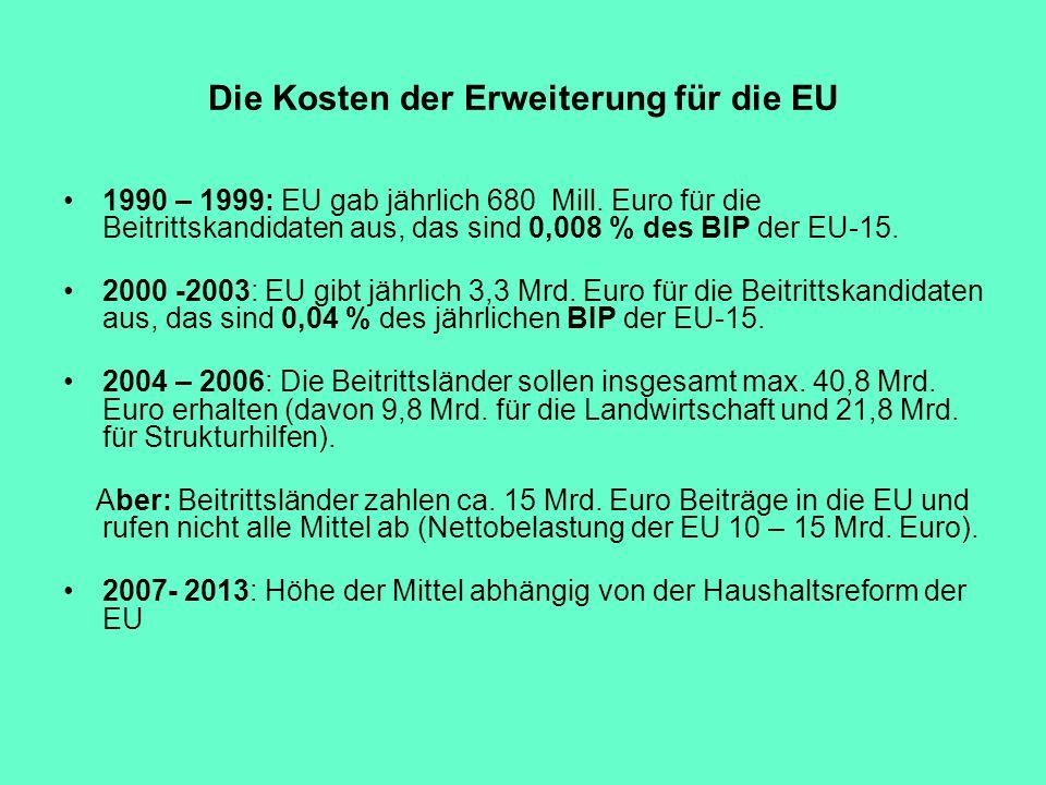 Die Kosten der Erweiterung für die EU