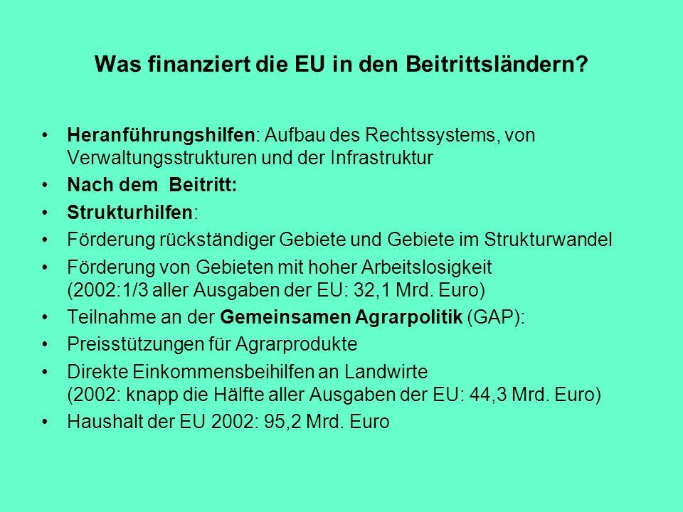 Was finanziert die EU in den Beitrittsländern