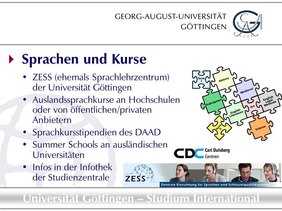  Sprachen und KurseZESS (ehemals Sprachlehrzentrum) der Universität Göttingen.