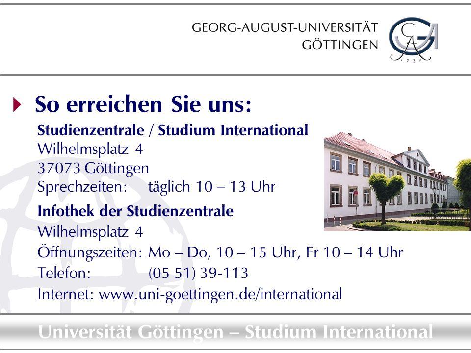 So erreichen Sie uns: Studienzentrale / Studium International