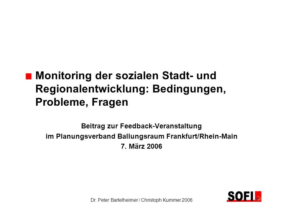 Monitoring der sozialen Stadt- und. Regionalentwicklung: Bedingungen,