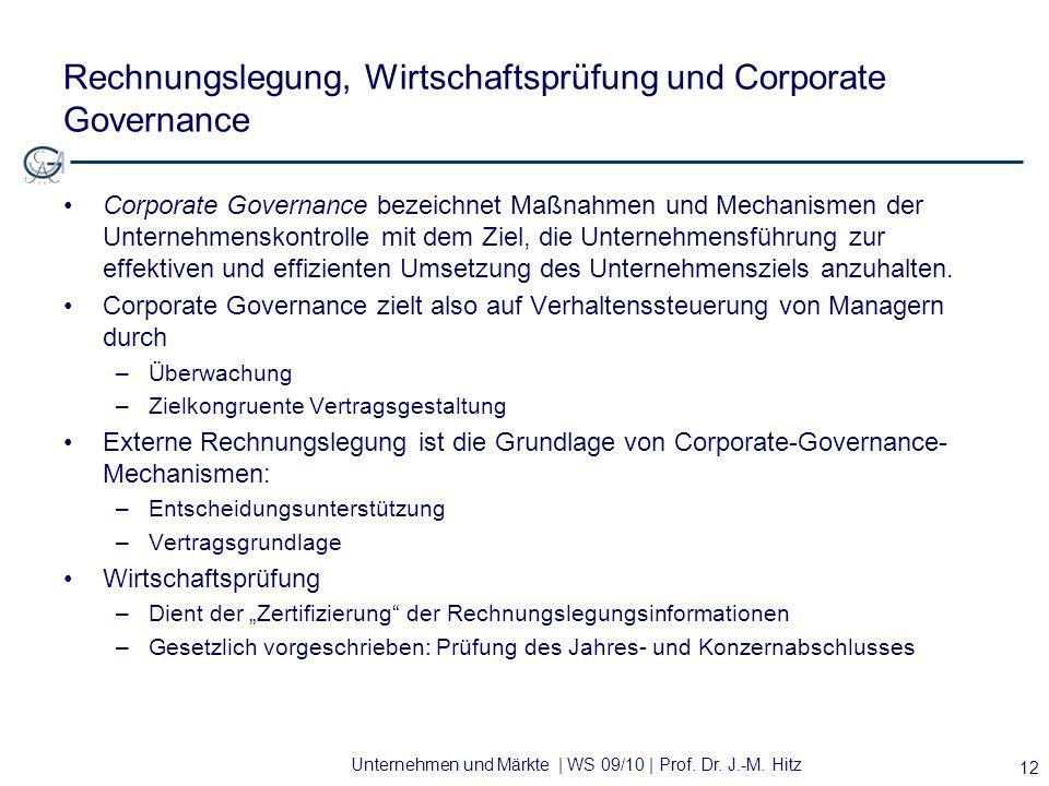 Rechnungslegung, Wirtschaftsprüfung und Corporate Governance