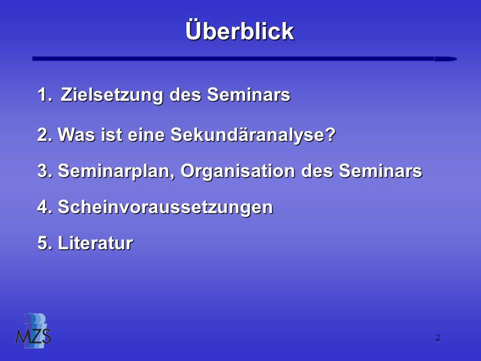 Überblick Zielsetzung des Seminars 2. Was ist eine Sekundäranalyse