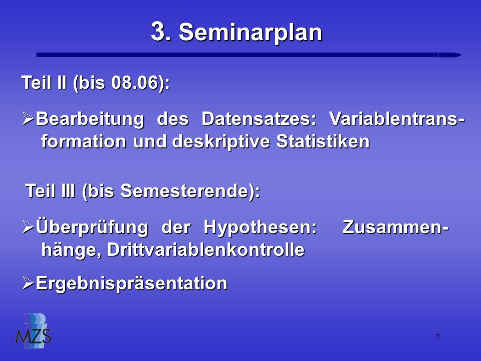 3. Seminarplan Teil II (bis 08.06):