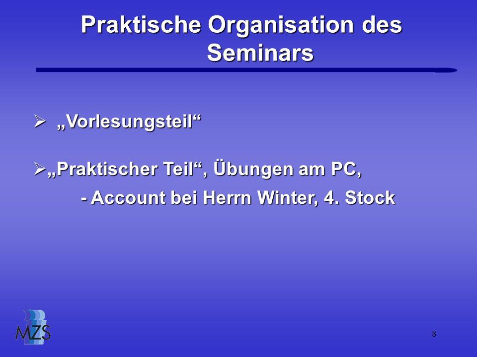 Praktische Organisation des Seminars