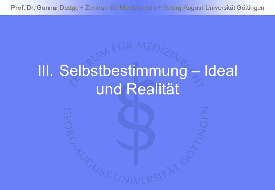 III. Selbstbestimmung – Ideal und Realität