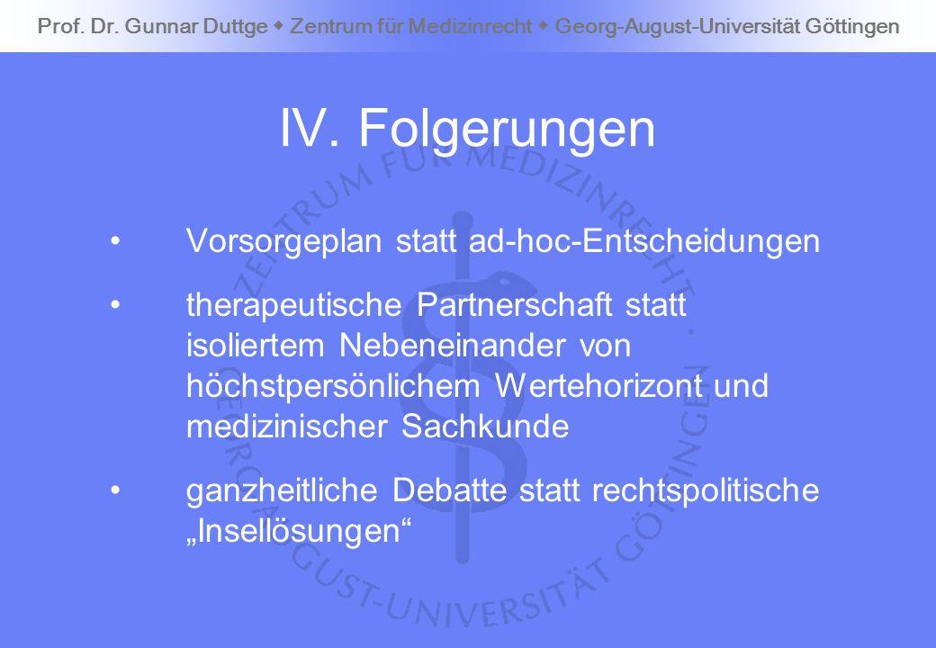 IV. Folgerungen Vorsorgeplan statt ad-hoc-Entscheidungen
