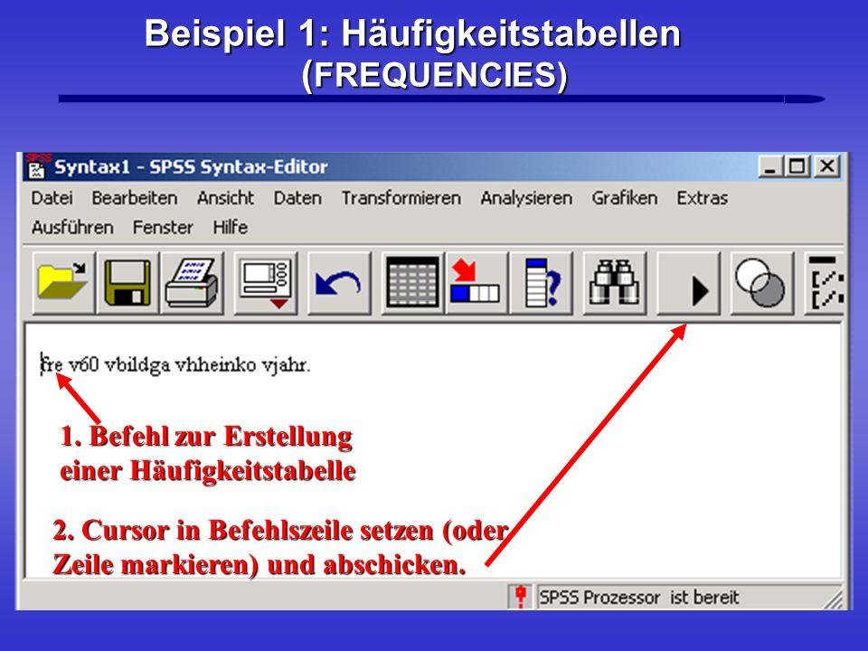 Beispiel 1: Häufigkeitstabellen (FREQUENCIES)