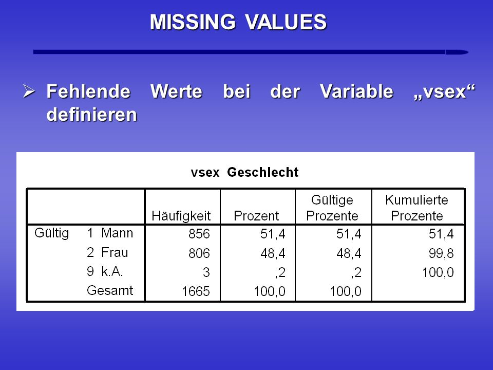 "MISSING VALUES Fehlende Werte bei der Variable ""vsex definieren "