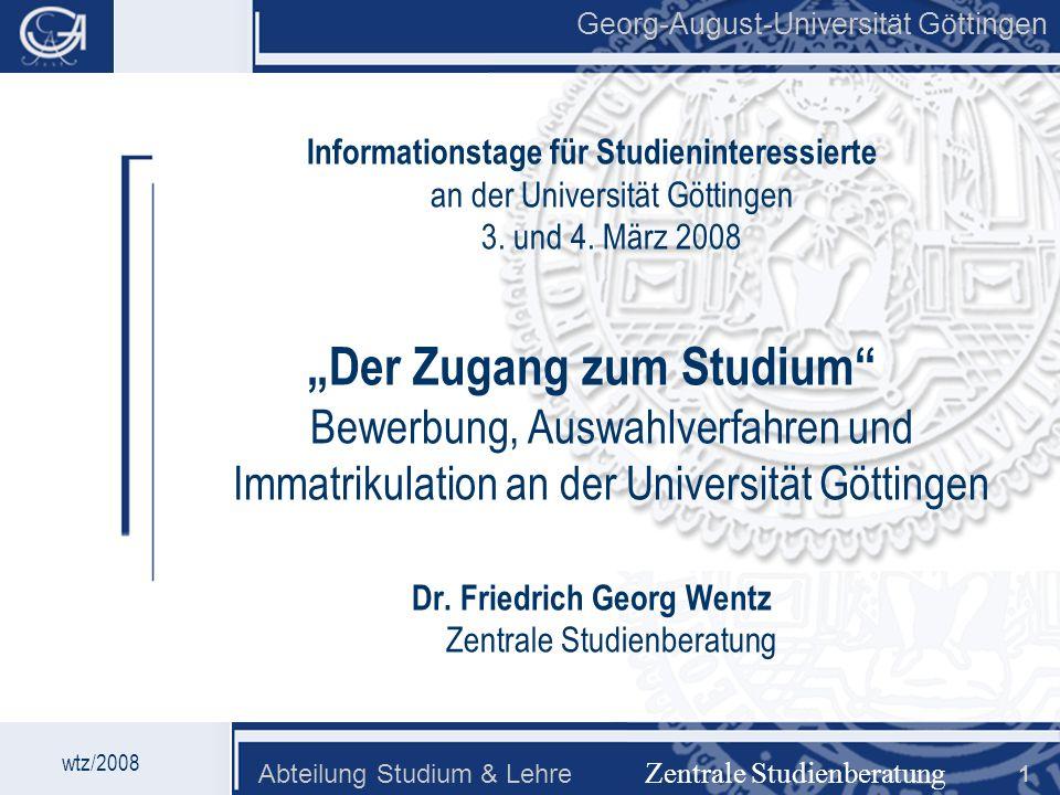 Dr. Friedrich Georg Wentz Zentrale Studienberatung